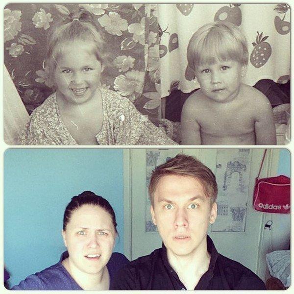 Ксения Корнева и брат в детстве и юности
