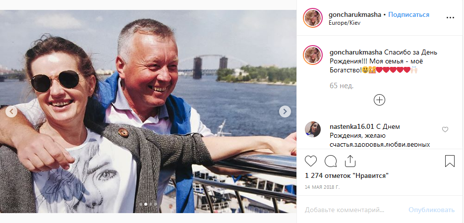 Родители модели Марии Гончарук
