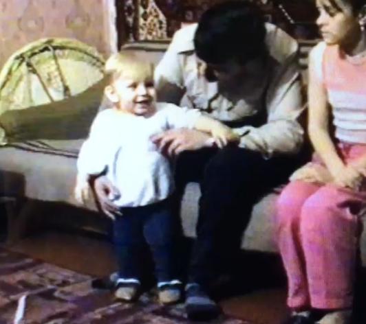 Михаил Игонин с сестрой и отцом